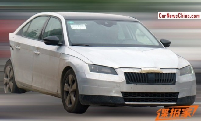 Spy Shots: 2015 Skoda Superb is almost Completely Naked in China