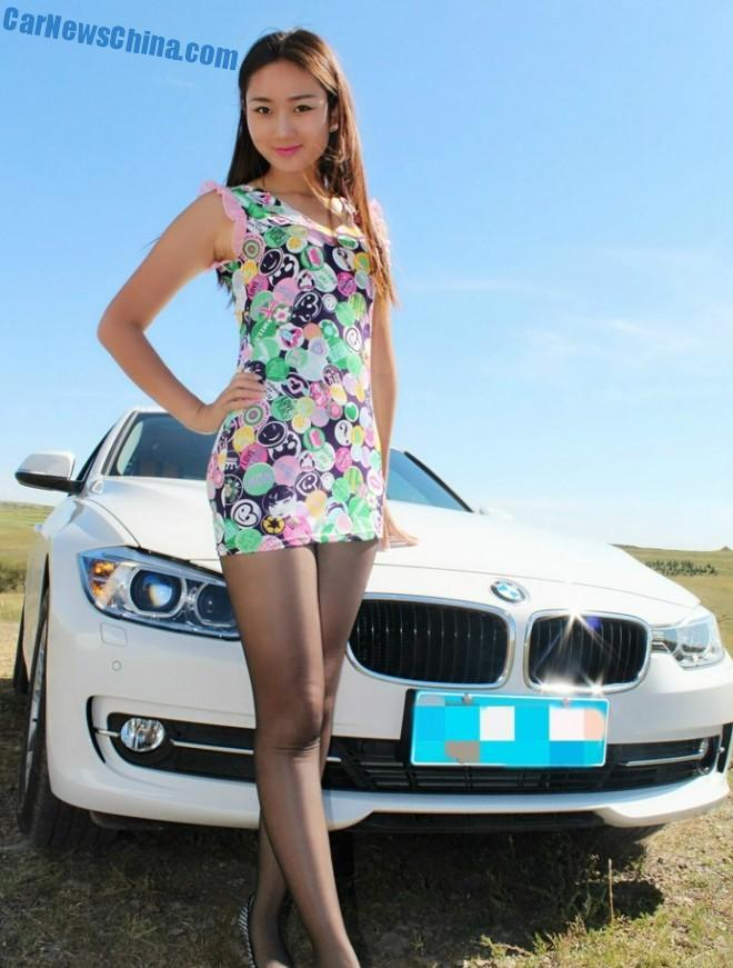 Sweet Chinese Girl is Sexy with a BMW 320Li