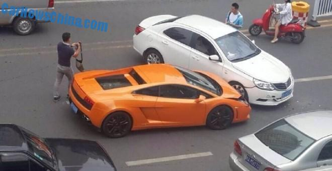 Crash Time China: Lamborghini Gallardo hits Baojun 630