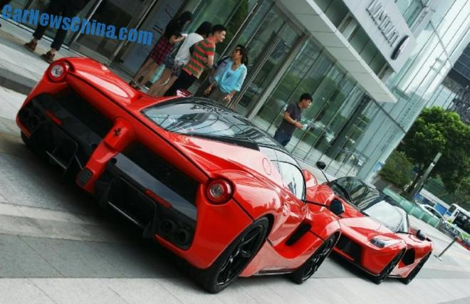 Spotted in China: Ferrari LaFerrari times Two