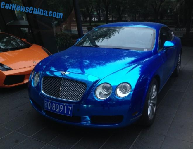 Bentley Continental GT is shiny blue in China