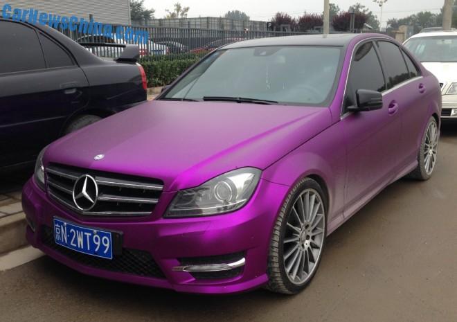 Mercedes-Benz C-Class sedan is shiny purple in China