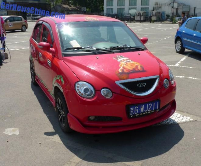 Chery QQ6 has a body kit and a cat in China