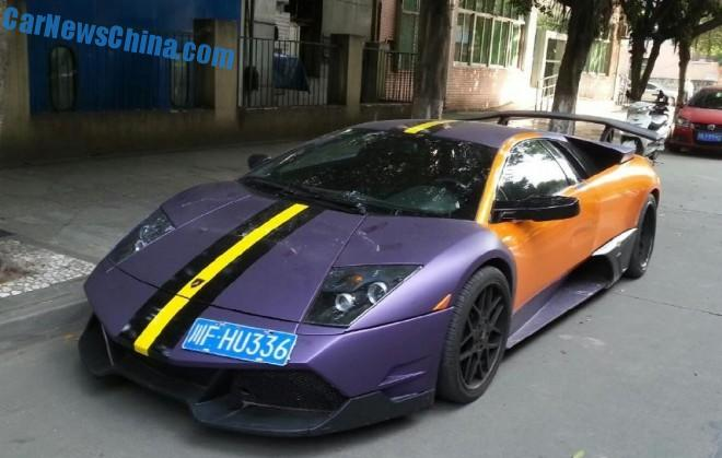 Lamborghini Murcielago is matte purple and orange in China