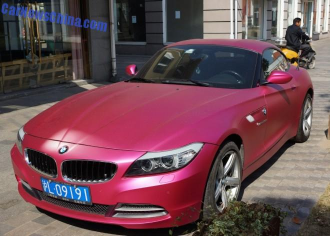 BMW Z4 is shiny Pink in Shanghai, China