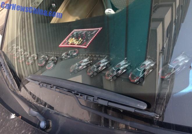 A windshield full of Lamborghini Sesto Elemento in China