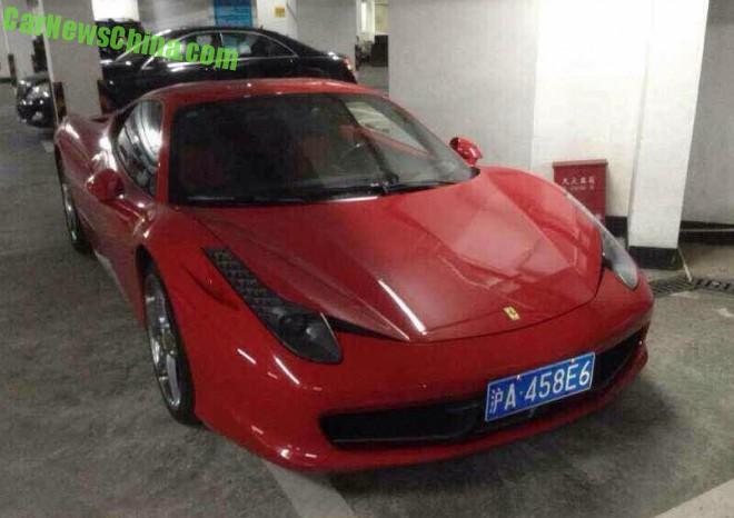 Red Ferrari 458 Italia has a License in Shanghai, China