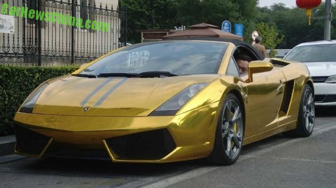 Lamborghini Gallardo Spyder is shiny gold in China