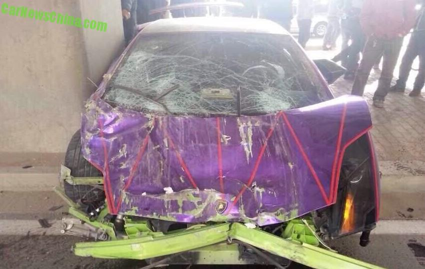 five lamborghini supercars crashed in china on friday lamborghini aventador chrome purple