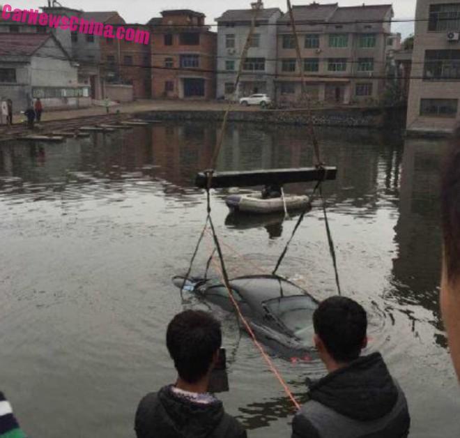 Ferrari F430 hits a Canal in China