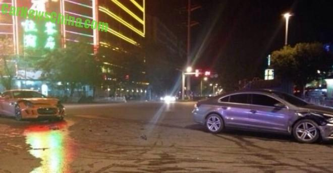 Crash Time China: Jaguar F-Type slams into a Volkswagen Passat CC