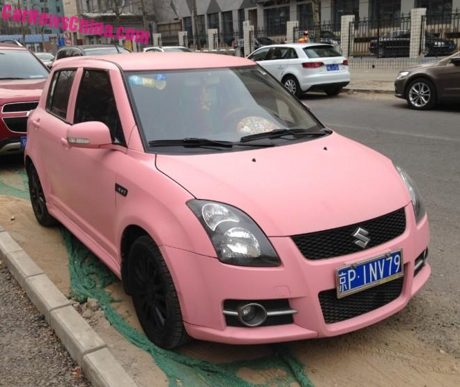 Suzuki Swift is matte Pink in China