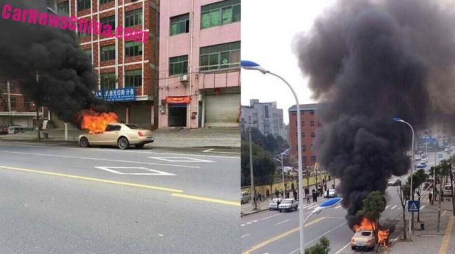 Bentley Flying Spur burns in China