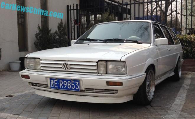 Volkswagen Santana Variant is a white low rider in China