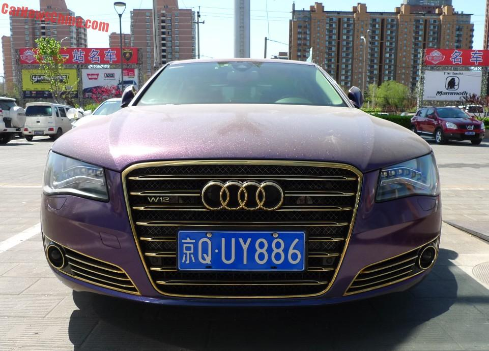 audi a8l w12 is shiny purple in china. Black Bedroom Furniture Sets. Home Design Ideas