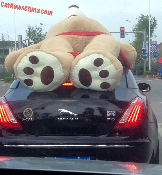 Jaguar XJL has a Bear on the Roof in China