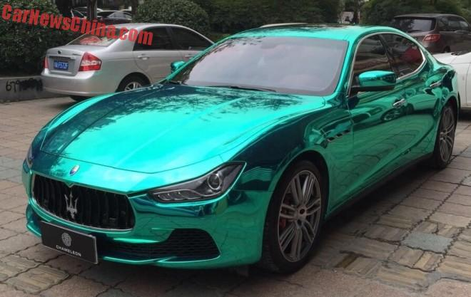 Bling! Maserati Ghibli is shiny light green in China