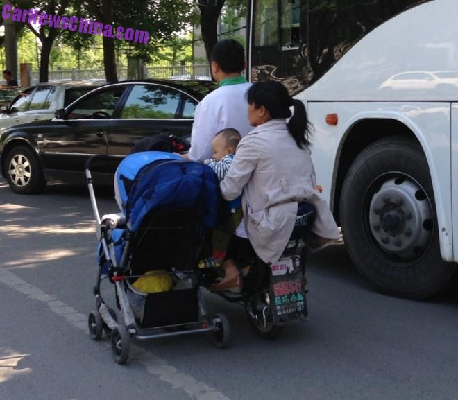 Taking the baby stroller out for a Ride in China