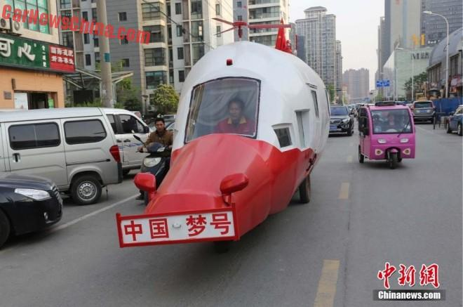 Chinese man builds 'Chinese Dream Helicopter' for on the Road