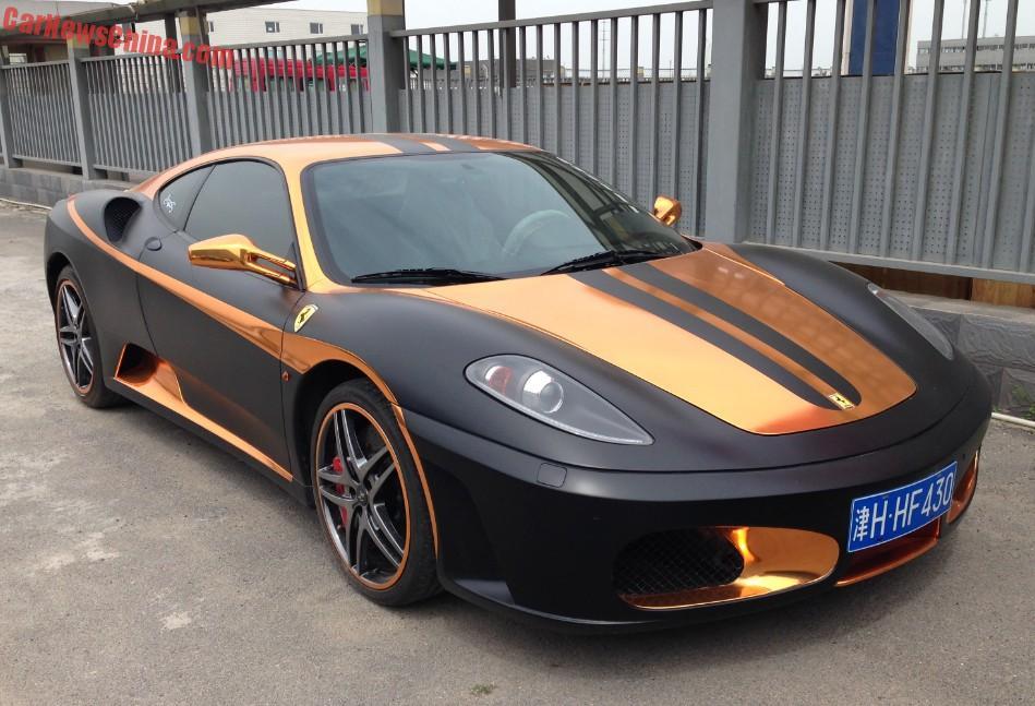 ferrari f430 is matte black & gold in china - carnewschina
