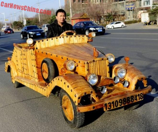 Chinese man builds electric car out of Wood
