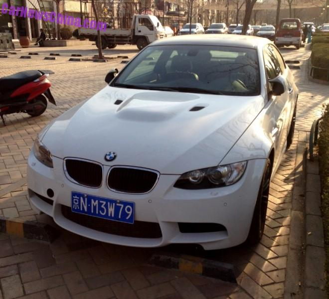 White BMW M3 Coupe has a License in China