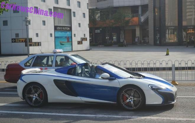 McLaren 650S Spider is white & blue in China