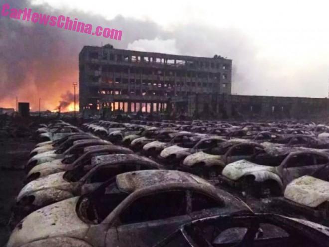 Blast in China's Tianjin port area Burns down dozens of Volkswagen Beetles