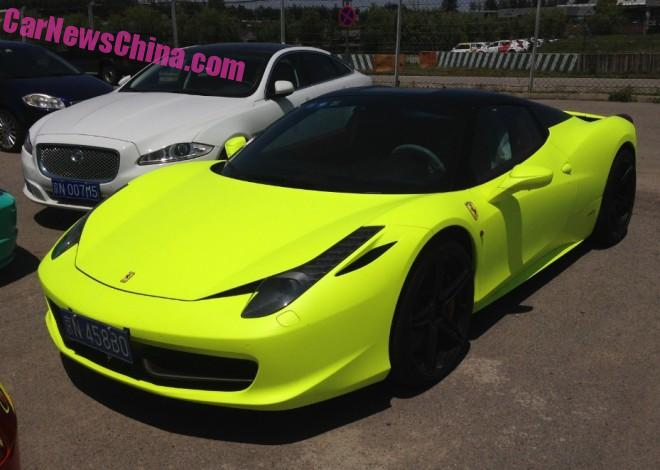 Ferrari 458 Spider with a License is matte Light yellow in China