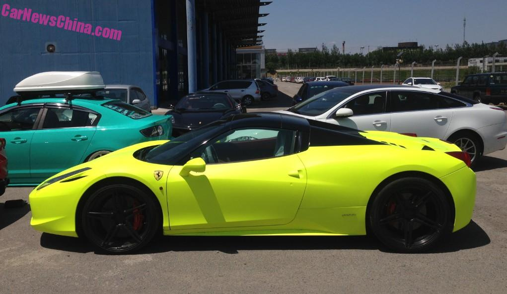 Ferrari 458 Spider with a License is matte Light yellow in