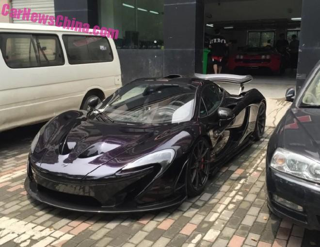 McLaren P1 supercar is black purple in China