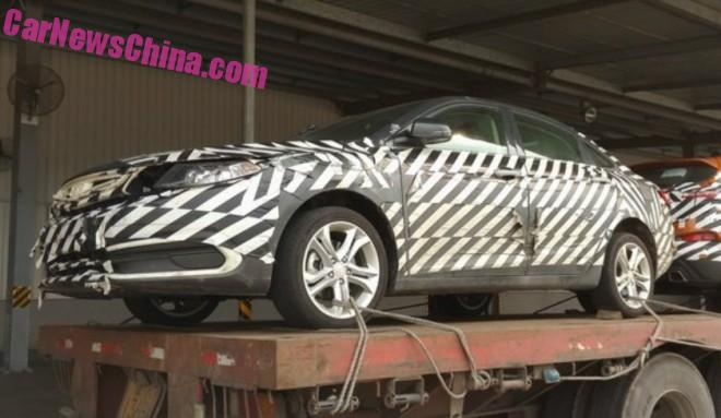 Spy Shots: Geely Emgrand compact sedan on a Truck in China