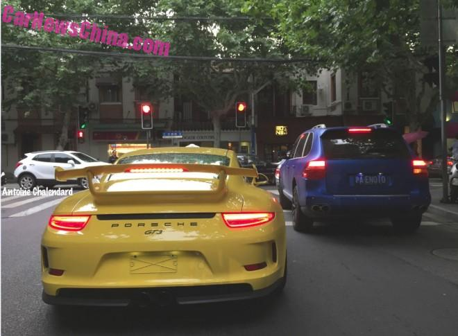 Porsche 911 GT3 is Yellow in Shanghai, China