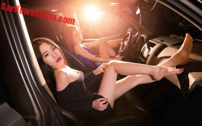 Two Pretty Girls in a Chinese SUV