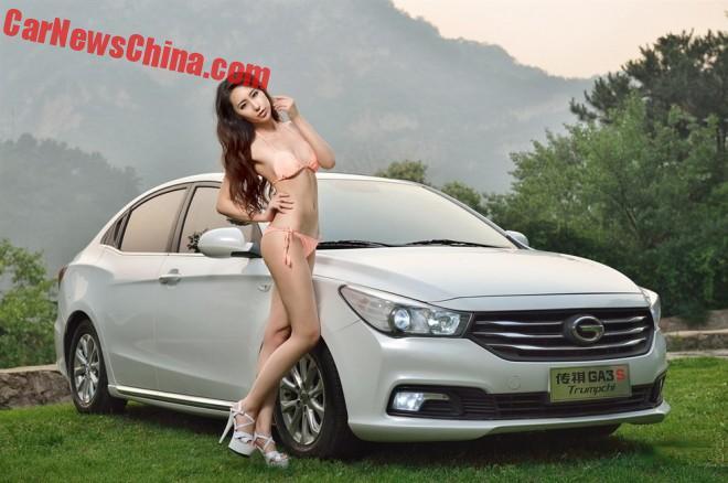 Chinese Car Girl gets Close to a Guangzhou Auto Trumpchi GA3S