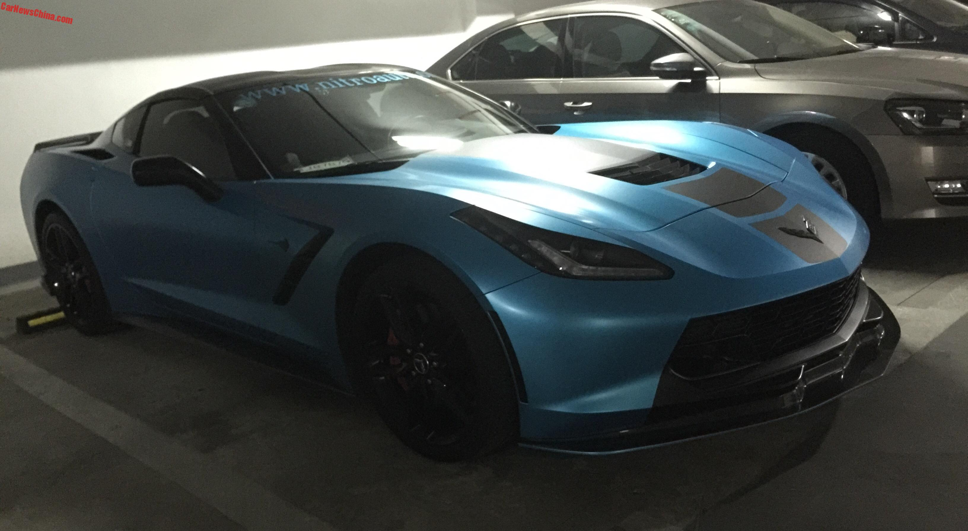 Chevrolet Corvette Stingray is matte blue and modified in China ...