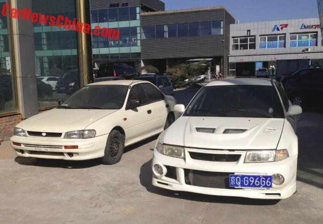 Spotted in China: first generation Subaru Impreza GL and Mitsubishi Lancer EVO