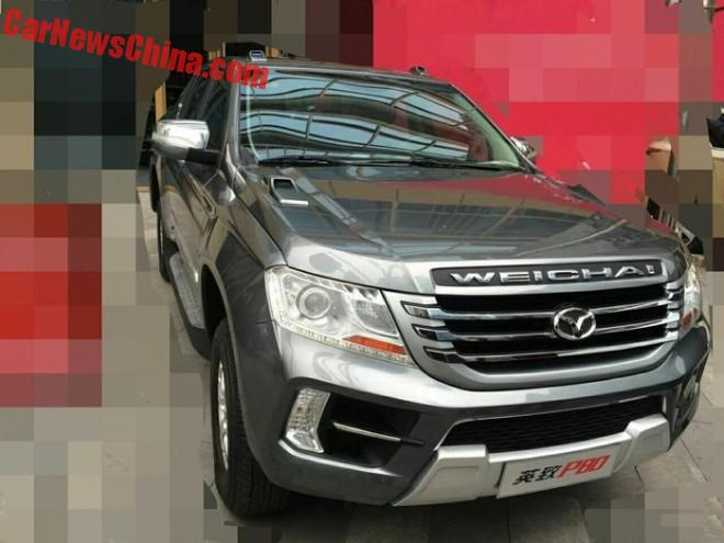 New Spy Shots of the Weichai Auto Yingzhi P80 pickup truck for China
