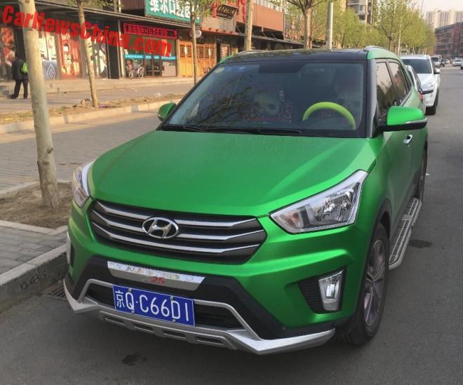 Hyundai ix25 SUV is Shiny Green in China