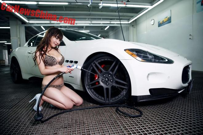 Chinese Car Girl Cleans Up The Maserati