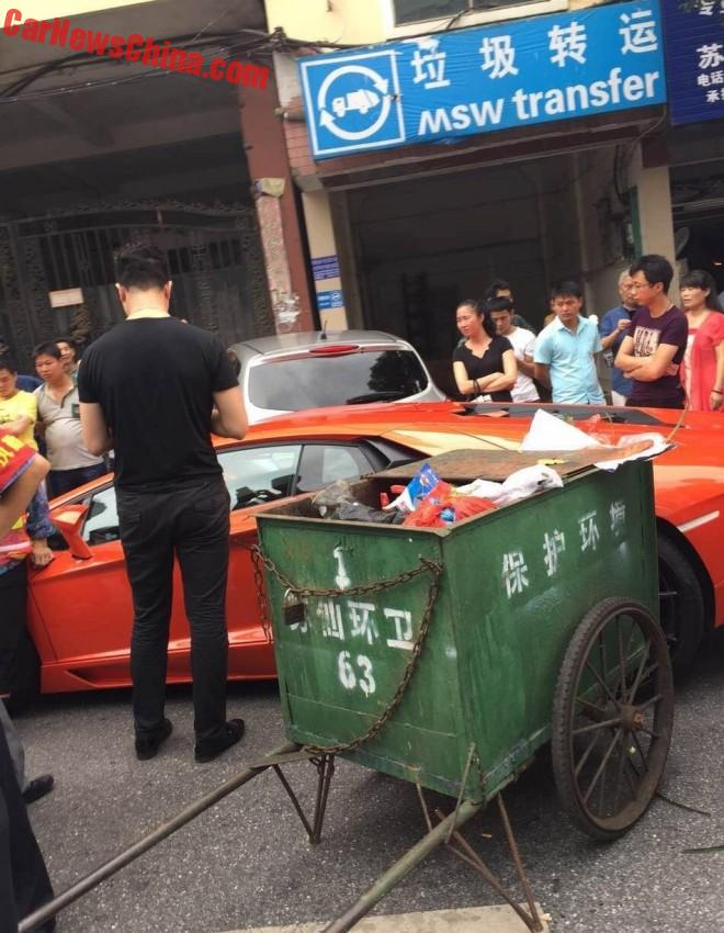 Lamborghini Aventador Hits Trash Cart And Nissan In China