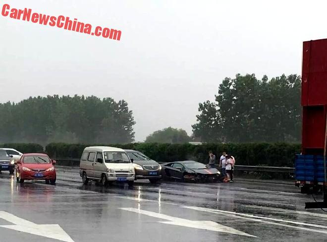 Another Lamborghini Aventador Crashes In The Rain In China
