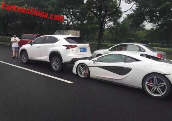 McLaren 570S Rear Ends Lexus NX In China