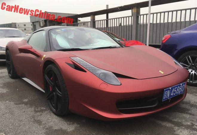 Spotted In China: Ferrari 458 Spider In Matte Red