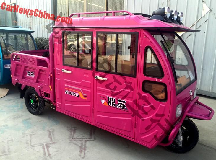 I Always Wanted To Have A Pink Double Cab 3 Wheel Pickup Truck With Searchlights On The Roof And Now China Will Me One