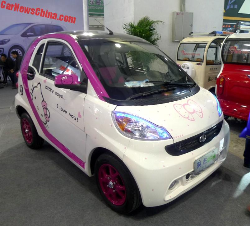 Hily I Met The Jijie Tule Hello Kitty Edition At 2017 Jinan Ev Show All Pink Stuff Is Factory Standard Sadly On Wheels Of