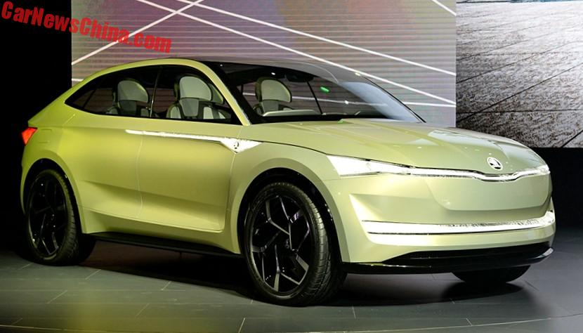 the skoda vision e previews a sporty electric suv coupe. Black Bedroom Furniture Sets. Home Design Ideas